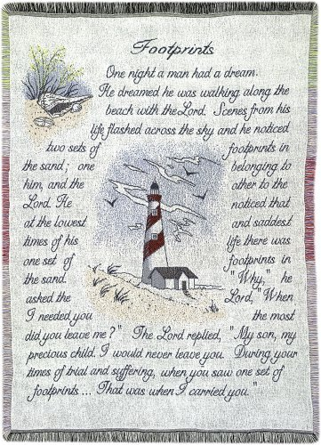 Manual 46 X 60-Inch Inspirational Collection 2.5-Layer Fringed Throw, Footprints by Manual Woodworker -