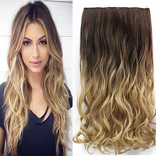 Neverland 24 pouces (60cm) de Full Clip Tete dans les extensions de cheveux ondules boucles Ombre dip-dye 8#/25#