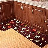 Mksfy antiscivolo assorbente tappetino porta striscia allungamento lungo tappeto porta entrata Foot Pad per bagno cucina camera da letto studio corridoio porta di ingresso soggiorno, caffè foglia d' acero, 40* 60cm