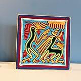Wandbild   Wanddeko   Dekobild aus Faden   Deko Handarbeit   Huichol 'Baile'   Deko Bild Kunst