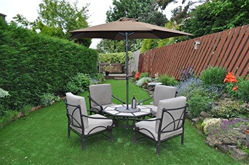Gardensity Parasol 2.7m Steel Metal Powder Coated Garden Furniture Parasol With Winding Crank & Tilt Function (Coffee/Bronze)