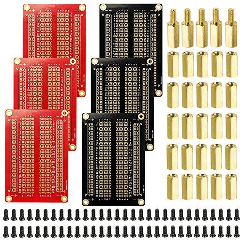 WayinTop PCB Circuito Stampato Breadboard & M3 Ottone Stand-Off Accessori Kit, 6pcs Saldabile Proto-Boards Kit + 5pcs M3 Ottone Stand-Off (10 + 6mm) + 25pcs 10mm M3 Ottone + 60pcs M3 Vite