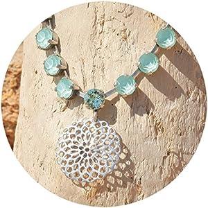 artjany Collier mandala swarovski kristalle mint green silber