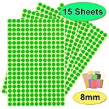 BEST-SELLING Pack of 3900 x 8mm Round Coloured Easy Peel Self Adhesive Dot Stickers for Colour Coding Calendars, DVDs, School Books – Choice of 12 Colours - 15 SHEETS of High Quality Sticky Dots (Green)
