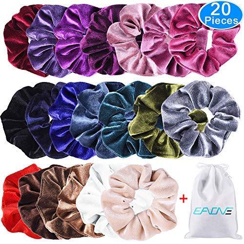 EAONE 20 Stück Haargummis Samt Scrunchies Elastisches Haar Band Pferdeschwanz Samtstoff für Mädchen, 20 Farben Haar Scrunchies