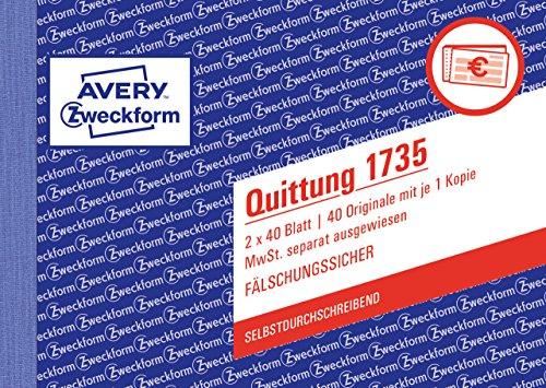 AVERY Zweckform 1735 Quittung (A6 quer, von Rechtsexperten geprüft, fälschungssicher, mit separat ausgewiesener MwSt., für Deutschland und Österreich, 2x40 Blatt) weiß/gelb
