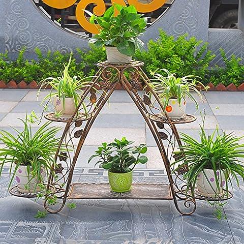 Porte-fleurs Étagère fleur verte salon plancher type étagère fleur verte multi-étages étagère étagère européenne porteplante ( Couleur : Brass )