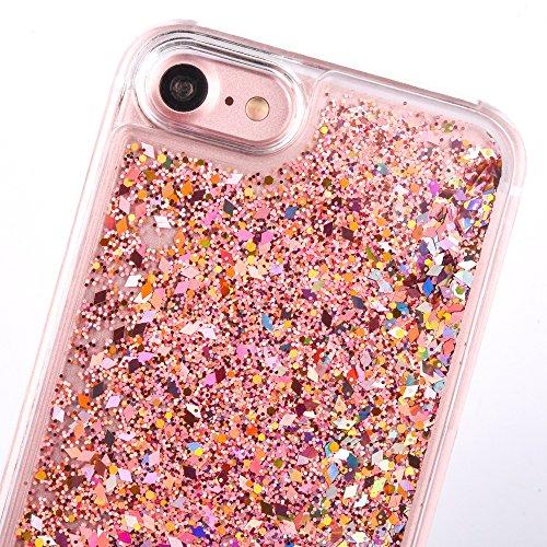"""iPhone 7 Hülle, [Kristallklar Durchsichtig] Handytasche CLTPY iPhone 7 Glanz Sparkle Diamant Sternherz Muster Dynamisch Liquid Hardcase für 4.7"""" Apple iPhone 7 + 1 x Griffel - Blau Rot"""