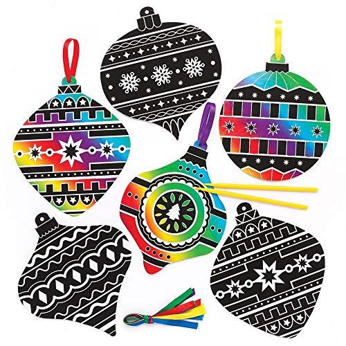 Baker ross palle natalizie scratch art (confezione da 10) per creazioni fai da te e decorazioni natalizie per bambini