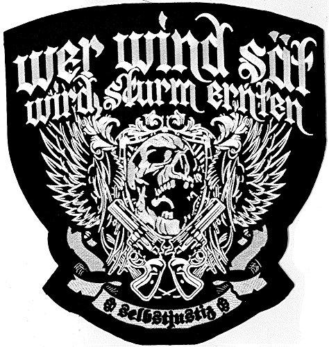 Preisvergleich Produktbild XXL Wer Wind Sät Wird Sturm Ernten Selbstjustiz Winged Skull Bootboys Biker Aufnäher