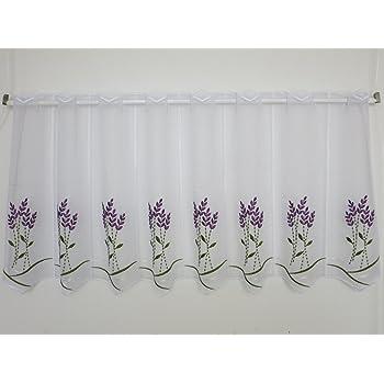 Scheibengardine Provence Weiß Lavendel Landhaus 45 cm hoch