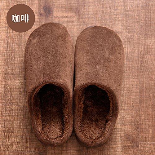 DogHaccd pantofole,Autunno Inverno uomo confezione con cotone pantofole home soggiorno caldo con spesse non-slip indoor e outdoor grandi numeri di scarpe da donna Il caffè2