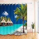 LB Île Tropicale Rideaux de Douche avec Crochets Water Bungalows Palm Trees et White Sandy Beach Rideaux de Bain Résistant à l'eau Tissu Polyester Anti Moule Décor de Salle de Bain,150X180CM...