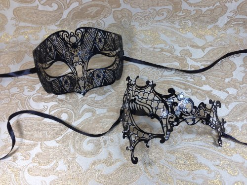 His & Hers Masquerade Couples Venetian Design Masks - 2 Piece Black Colored Set Metal Mask - Perfect Couple Mardi Gras Queen Party Halloween Ball Prom by BK by - B Queen Halloween