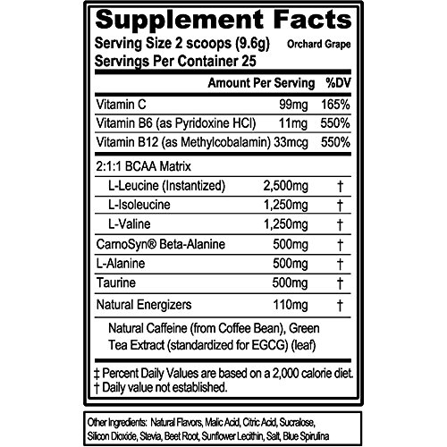 Evlution Nutrition BCAA Energy – Naturally Flavored Energizing Amino Acid Supplement for Muscle Building, Recovery, and Endurance (Orchard Grape)