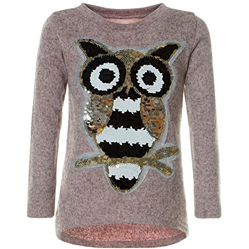 BEZLIT Mädchen Pullover Pulli Wende-Pailletten Sweatshirt Vogel Motiv 21601 Rosa Größe 116