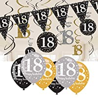 CheerstoYears 18th Birthday Decorations Black and Gold: 18th Birthday Bunting, Balloons, Hanging Decorations