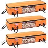 PrettyKrafts Long Underbed Storage Bag, Storage Organizer, Blanket Cover with Side Handles (Set of 3 Pieces) - Orange