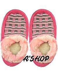 A'SHOP Platinum Winter Warm Soft Woolen Hand Made Knitted Booties Style Loafer Slipper For Women & Girls(Set Of...