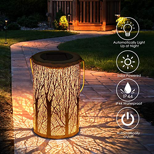 Solar Lantern Lights, Tencoz Outdoor Lights Solar for Decorative Atmosphere Hanging Garden Lantern for Courtyard, Parties, Walkway Waterproof LED Garden Lamp-12.5 * 12.5 * 20cm