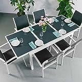 Margaritas mesa y 6sillas | extensible 200cm juego de muebles de exterior, aluminio, Blanco y gris, Georgia Chairs