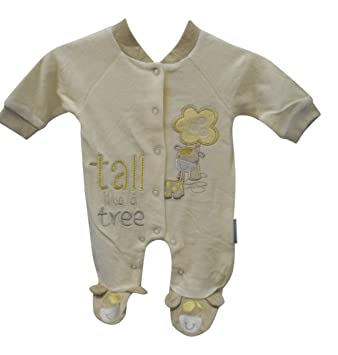 d932907c4a8 Unisex Baby Sleepsuit All in One Romper With Embroidery Cream Giraffe (Tiny  Baby)  Amazon.co.uk  Baby