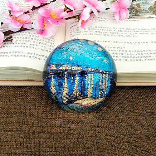 Digizi ZERO Van Gogh Ölgemälde Sternennacht Kristall Halbkugel Briefbeschwerer Presse Etui Kreative Dekoration Geschenk Dekoration, Blue 2 (ölgemälde Sternennacht)