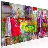 decomonkey | Bilder Abstrakt 150x50 cm | 1 Teilig | Leinwandbilder | Bild auf Leinwand | Vlies | Wandbild | Kunstdruck | Wanddeko | Wand | Wohnzimmer | Wanddekoration | Deko | Bunt Rot grün Violett