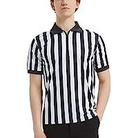 TopTie Sportwear Men's Pro-Style Referee Shirt with Quarter Zipper for Basketball Football Soccer