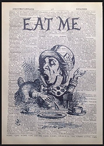 Alice im Wunderland Zitat Print Vintage Wörterbuch Seite Picture Art Mad Hatter Eat Me (Ware Hatter Mad)