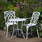 Lazy Susan Furniture - Ivy Bistro Table with 2 Chairs - Cast aluminium garden set, White (April chairs) …