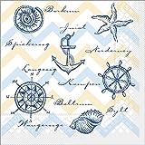 Sovie HORECA Serviette Maritim | Tissue-Servietten 33x33 cm | saugstarke und hochwertige Einweg-Servietten | ideal für Hochzeit & Feiern im Frühling & Sommer | 100 Stück | Blau