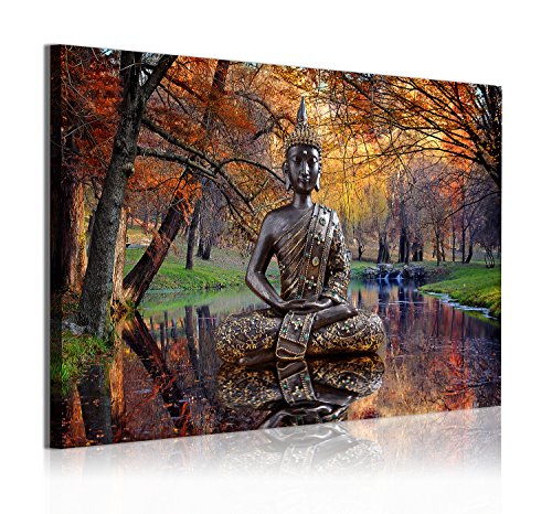 Dekoarte 310 - Cuadro moderno en lienzo 1 pieza zen buda en paisaje con lago, 120x3x80cm