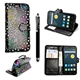 für Alcatel One touch Pop Star 5022D, Kamal Star® Kunstleder Tasche PU Schutzhülle Tasche Leder Brieftasche Hülle Case Cover + Gratis Universal Eingabestift (Rose Black Diamond Book)