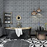 KINLO 1 Stück Fliesensticker Wandfliesen Aufkleber 77x 70 cm Schneidbar Fliesen für Küche Tile Style Tapete PVC 3D Deko-Fliesenfolie Grau
