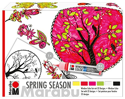 Marabu 0406000000124 - Window Color fun & fancy, Spring Season, Transparentfarbe auf Wasserbasis, für glatte Oberflächen, 6 x 25 ml Farbe, Malvorlage A3 mit frühlingshaften Motiven und Folie A4