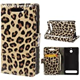 Handytasche Business Case Cover Sony Xperia E1 - STAND BOOK Etui Flip Leopard