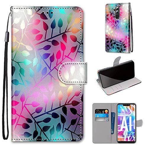 Miagon Flip PU Leder Schutzhülle für Huawei Mate 20 Lite,Bunt Muster Hülle Brieftasche Case Cover Ständer mit Kartenfächer Trageschlaufe,Zweig