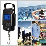 ThrSix - Báscula de pesaje electrónica, balanza de pesca digital con gancho para colgar con bolsa de malla con cinta métrica retráctil de 50 kg, 2 pilas AAA incluidas.