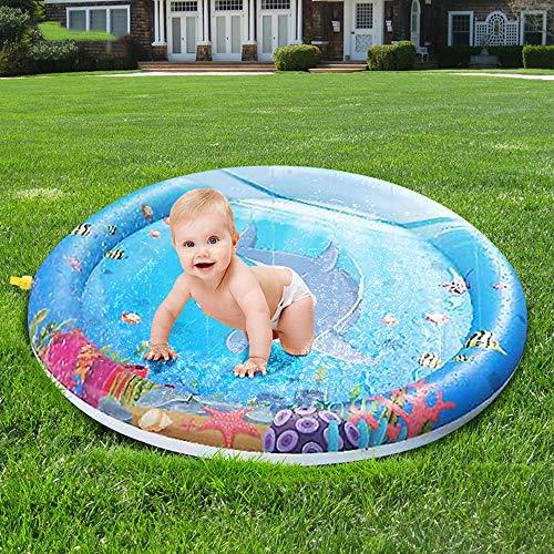 Kindersprinkle und Splash Play Wasserspielmatte - perfekte aufblasbare Sprinklerauflage für den Außenbereich - schnell ablaufende Ventile - ideal für Kinder - 100 cm