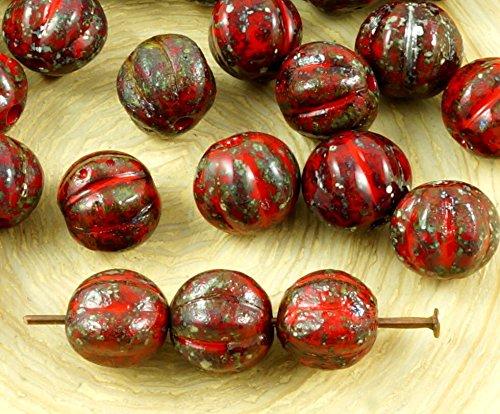 16pcs Picasso Silber Opak-Korallen-Rot, Rau, Rustikal Geätzt, Mattiert, Runde Melone Halloween-Kürbis-Obst-Tschechische Glasperlen 8mm (Rote Koralle Rau)