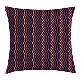 KLYDH Modern Decor Throw Pillow Cushion Cover, Tile Like Striped Squared Zig Zag Details qith Rainbow Colors Artistic Image, Decorative Square Accent Pillow Case, 18 X 18 Inches, Multicolor