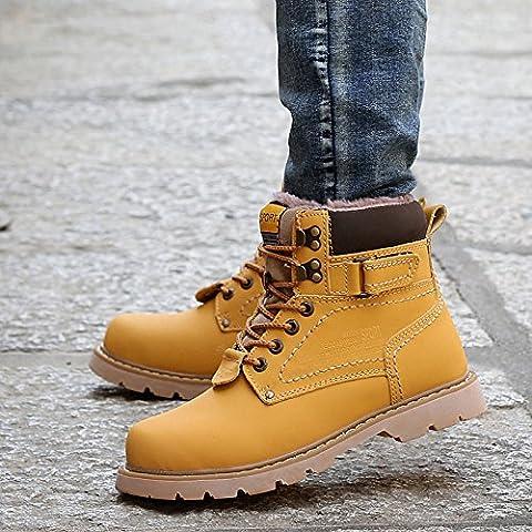 &zhou Botas de cuero botas de Martin botas de algodón de los hombres en el invierno en las botas militares , yellow cotton , 40