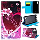 GrandEver Coque pour Wiko Rainbow Lite 4G PU Cuir Etui Pochette Flip Wallet Housse Plume Coloré Fleur Cœur Rouge Rose Motif Style Design Mode Bookstyle Case Cas Portable Holster Back Cover Souple Fonction Stand Magnetique Dustproof Protective Shell Fente de Carte Anti-Rayures AntiPoussiere