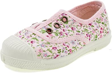 Natural World Scarpa in Cotone Fondo CAUCCIU Elastica Fiori 471541 Rosa
