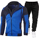 Mens Full Tracksuits with Hoody Casual Zip Up Hoodies and Elasticated Waist Jogging Bottoms 2pcs Sport Suit