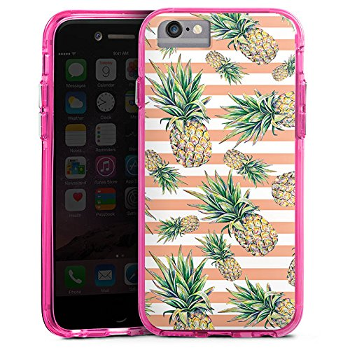 Apple iPhone 6 Bumper Hülle Bumper Case Glitzer Hülle Pineapple Ananas Fruits Bumper Case transparent pink