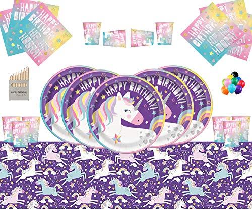 Einhorn Party Supplies Einhorn Kinder Geburtstag Thema Party Geschirr Dekorationen für 16 Gäste mit Free Photo Frame & Ballon