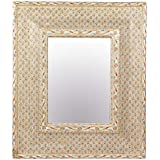 Meher Creation Fine Gold Painting Bone Inlay Square Shape Wall Mirror/Makeup Mirror/Decorative Wall Mirror (Size :- 33 X 28 X 2 Inches)