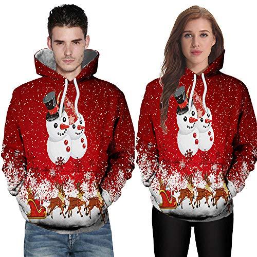 WOBANG Männer Tops Bluse Langarm 3D Druck Schneemann Herbst Winter Lässige Kapuzenpullover Tops Pullover Mit Tasche Weihnachten Kostüm (Large, - Red Hoodie Weihnachten Kostüm